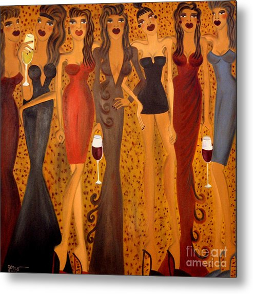 Women Artwork Metal Print featuring the painting Seven Sisters of Pleiades by Helen Gerro