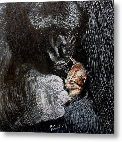 Gorillia Metal Print featuring the painting Tribute to Koko by Stan Hamilton