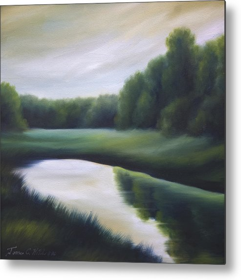 Nature; Lake; Sunset; Sunrise; Serene; Forest; Trees; Water; Ripples; Clearing; Lagoon; James Christopher Hill; Jameshillgallery.com; Foliage; Sky; Realism; Oils; Green; Tree Metal Print featuring the painting A Day In The Life 3 by James Christopher Hill