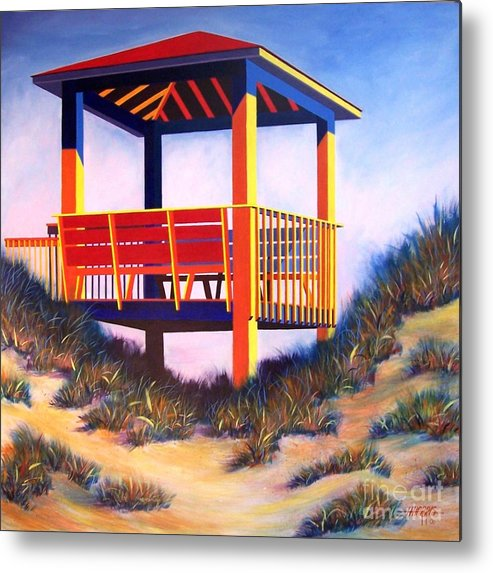 Cheerful Beach Scene Painted In Acrylic On Gallery Wrap Canvas Metal Print featuring the painting A Happy Place by Hugh Harris
