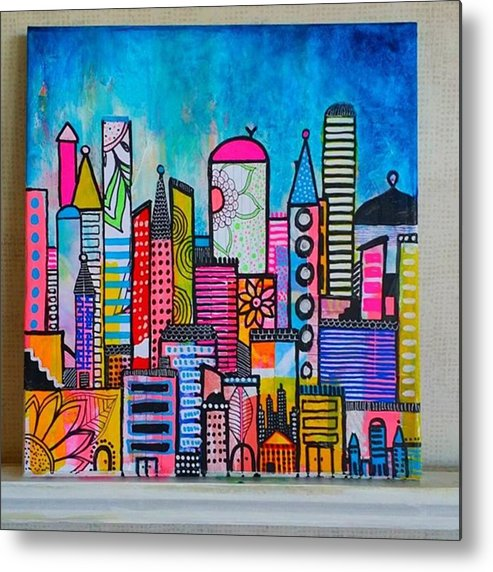 Shine Metal Print featuring the photograph A New 12 X12 #cityscape #collage by Robin Mead