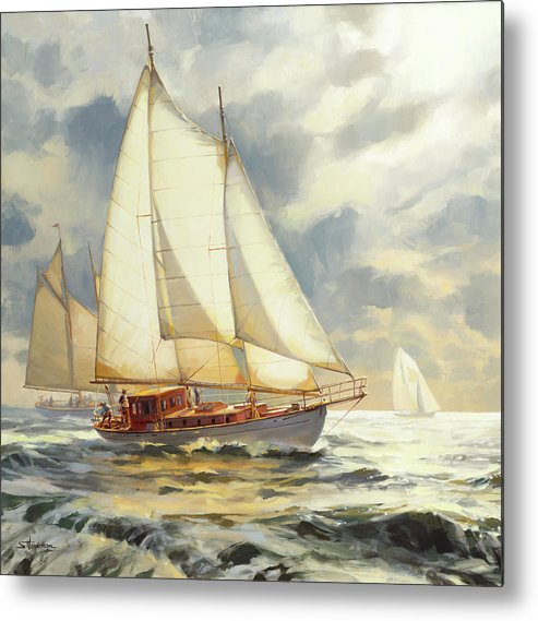 Sailboat Metal Print featuring the painting Ahead of the Storm by Steve Henderson