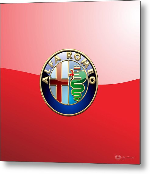 Wheels Of Fortune By Serge Averbukh Metal Print featuring the photograph Alfa Romeo - 3d Badge On Red by Serge Averbukh