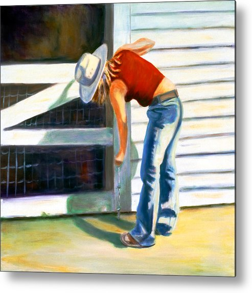 Red Metal Print featuring the painting An American Girl by Shannon Grissom