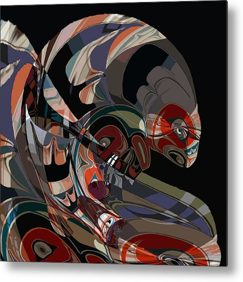 Northwest Native American Metal Print featuring the digital art Angler for Lunch by John Helgeson