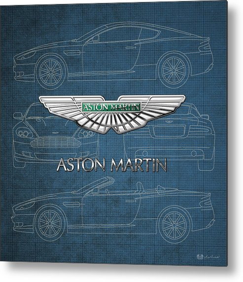 Wheels Of Fortune By Serge Averbukh Metal Print featuring the photograph Aston Martin 3 D Badge over Aston Martin D B 9 Blueprint by Serge Averbukh