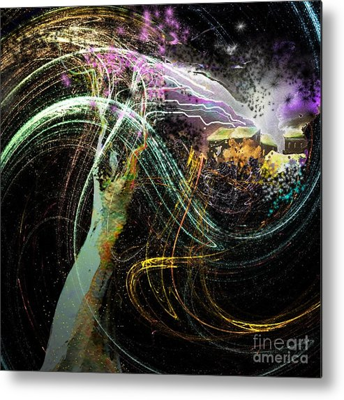 Fantasy Metal Print featuring the painting At The End of The Cosmos by Miki De Goodaboom