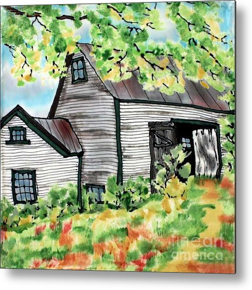 Silk Painting Metal Print featuring the painting August Barn by Linda Marcille