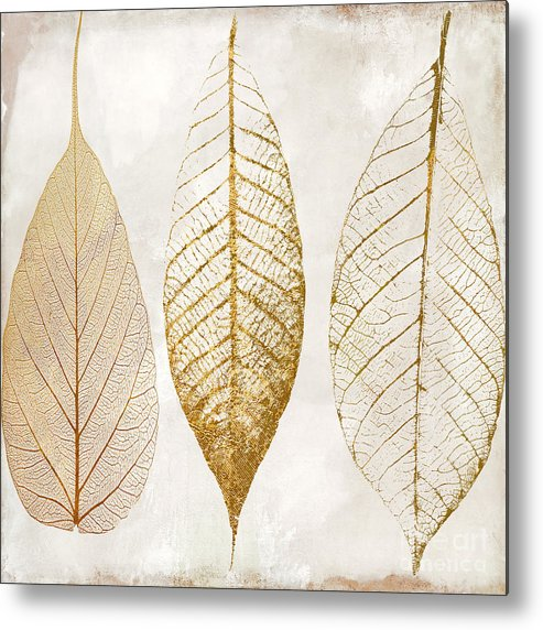 Leaf Metal Print featuring the painting Autumn Leaves III Fallen Gold by Mindy Sommers