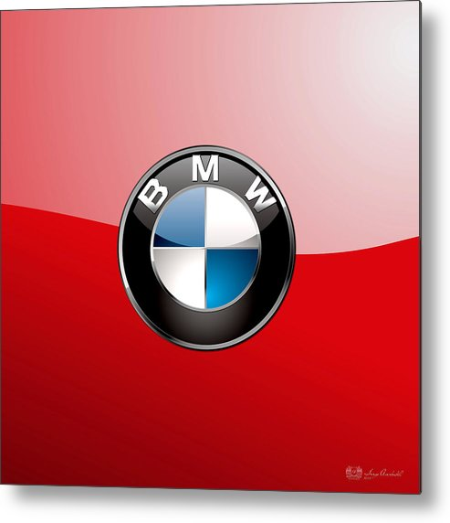 'auto Badges 3d' By Serge Averbukh Metal Print featuring the photograph B M W Badge On Red by Serge Averbukh