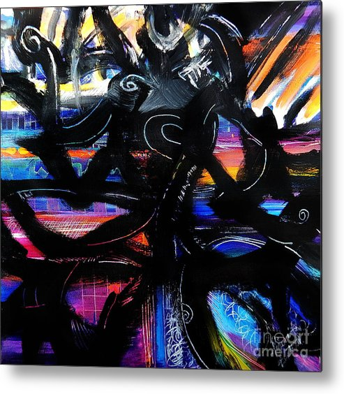 Original Painting On Canvas .abstract Metal Print featuring the painting Badass Black by Priscilla Batzell Expressionist Art Studio Gallery