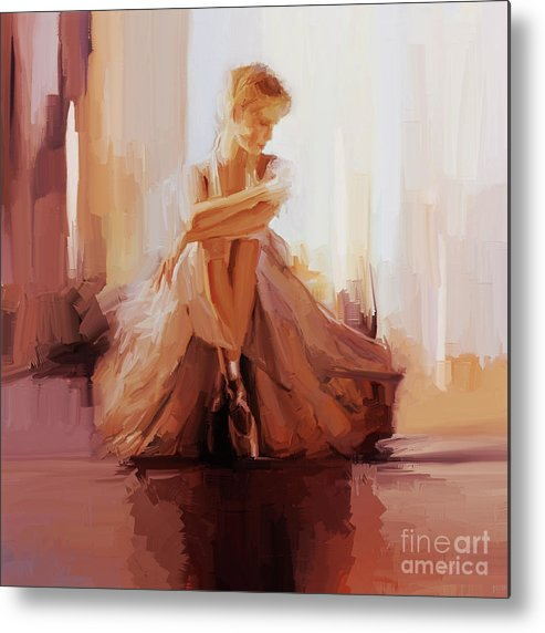 Ballerina Metal Print featuring the painting Ballerina Dancer Sitting On The Floor 01 by Gull G