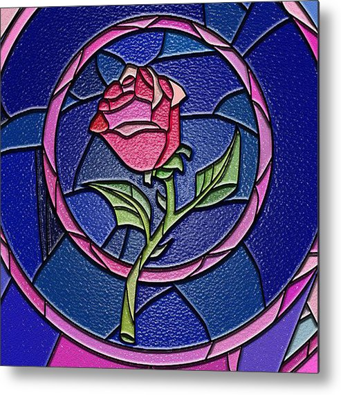 Beauty And The Beast Enchanted Rose Stained Glass Metal Print By Retno Musyakimah