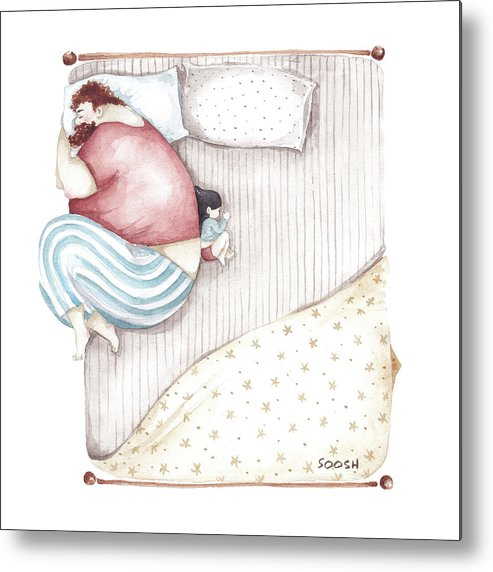 Illustration Metal Print featuring the painting Bed. King size. by Soosh