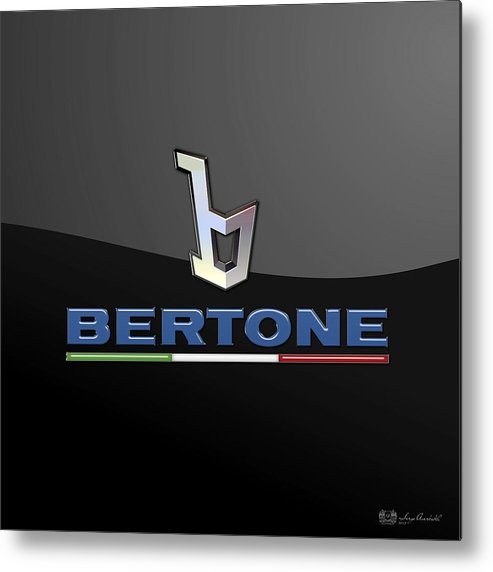 'auto Badges' Collection By Serge Averbukh Metal Print featuring the photograph Bertone - 3 D Badge On Black by Serge Averbukh