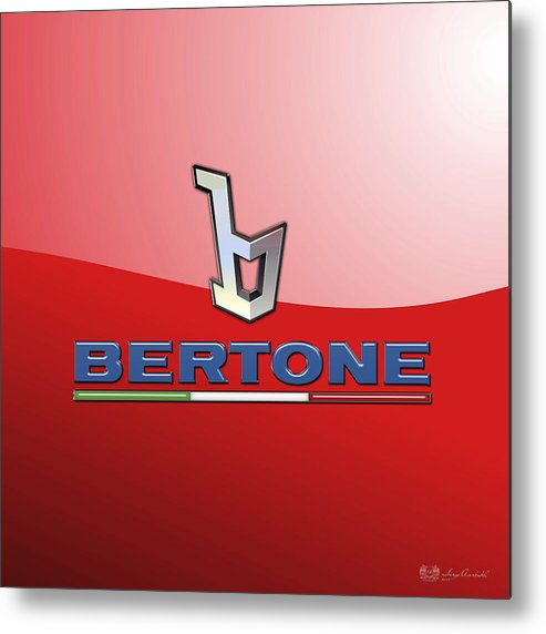 �wheels Of Fortune� Collection By Serge Averbukh Metal Print featuring the photograph Bertone 3 D Badge on Red by Serge Averbukh