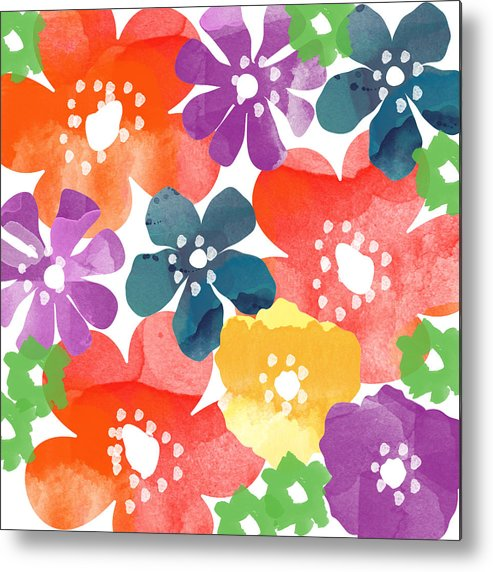 Flowers Metal Print featuring the painting Big Bright Flowers by Linda Woods