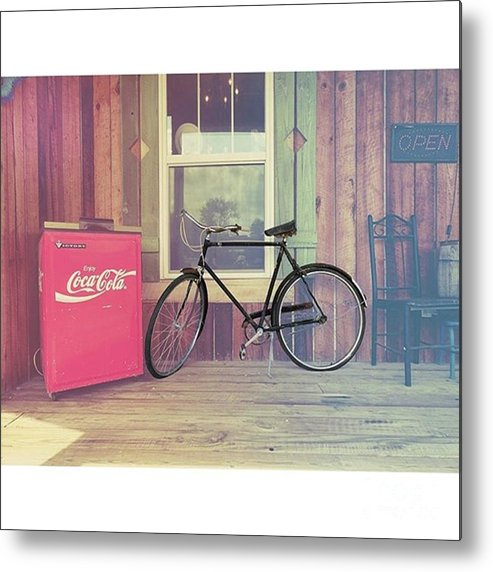 Ruralphotography Metal Print featuring the photograph Bike By A Window brighton Illinois by Larry Braun