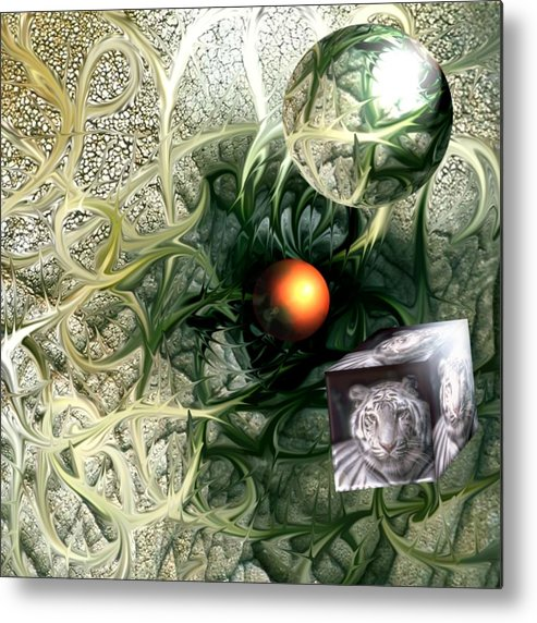Abstract Nature Red Birth Tiger Spheres Wire Metal Print featuring the digital art Birth by Veronica Jackson