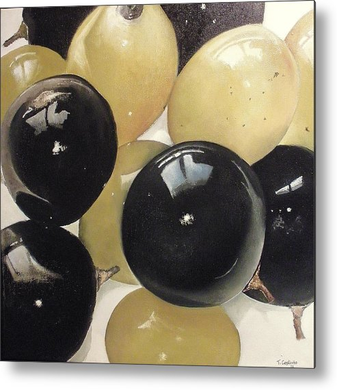 Grapes Metal Print featuring the painting Black And White Grapes by Tomas Castano