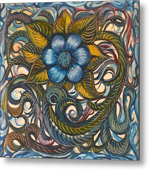 Blue Metal Print featuring the painting Blue Flower With Yellow Leaves by Karen Doyle