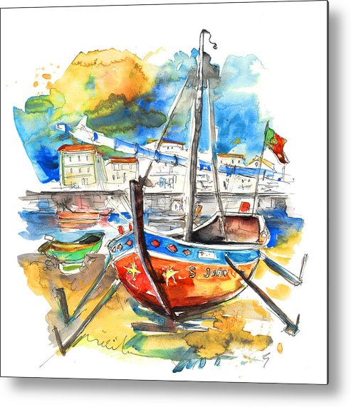 Portugal Metal Print featuring the painting Boats in Tavira in Portugal 02 by Miki De Goodaboom