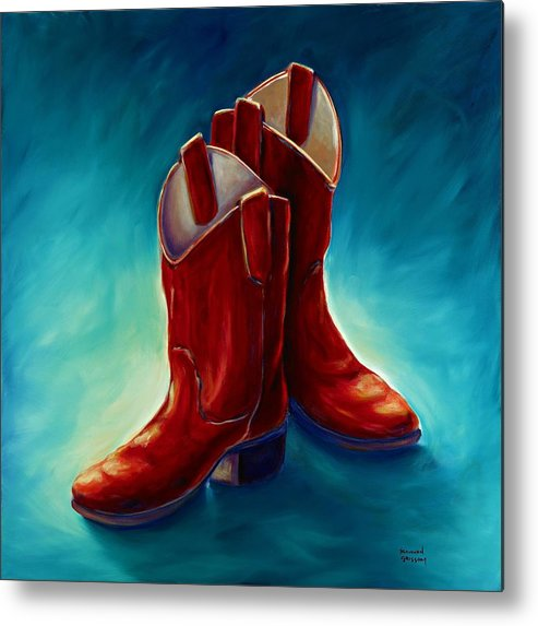Boots Metal Print featuring the painting Boots by Shannon Grissom