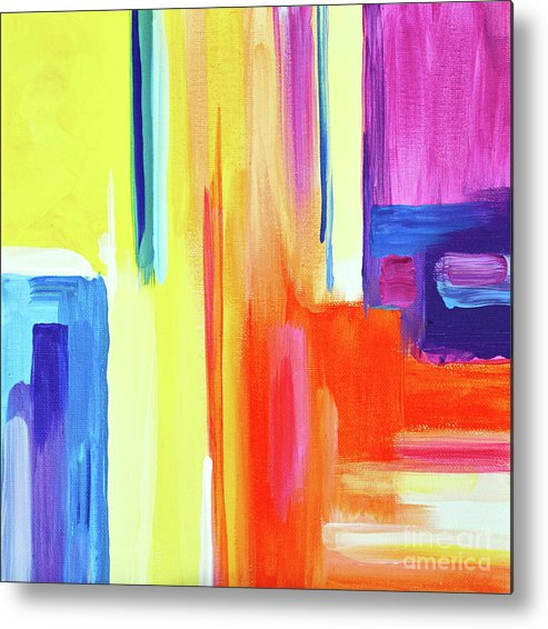Compelling Vibrant Colorful Minamilist Artwork Consisting Of Mostly Blocky Rectangular Areas . Metal Print featuring the painting Bright Blocks by Priscilla Batzell Expressionist Art Studio Gallery