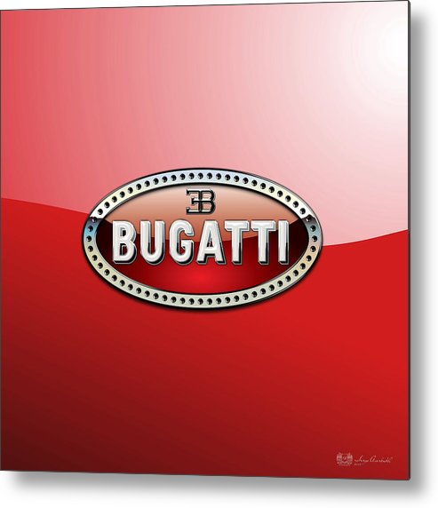 �wheels Of Fortune� Collection By Serge Averbukh Metal Print featuring the photograph Bugatti - 3 D Badge on Red by Serge Averbukh