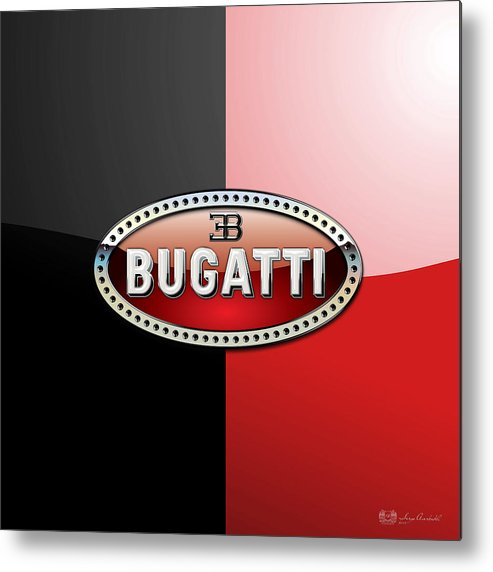 Wheels Of Fortune By Serge Averbukh Metal Print featuring the photograph Bugatti 3 D Badge on Red and Black by Serge Averbukh