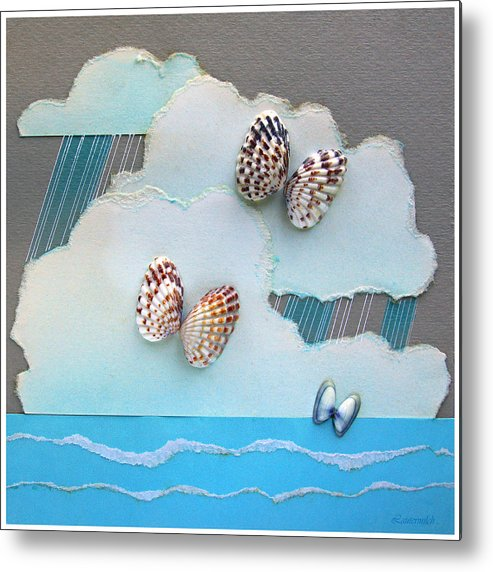 Shells Metal Print featuring the painting Butterfly Shells by John Lautermilch