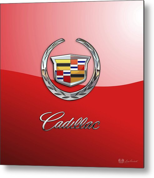 �wheels Of Fortune� Collection By Serge Averbukh Metal Print featuring the photograph Cadillac - 3 D Badge on Red by Serge Averbukh
