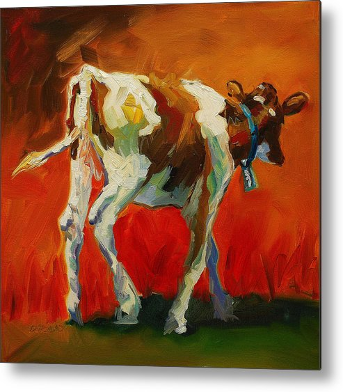 Painting Metal Print featuring the painting Calf Baby by Diane Whitehead