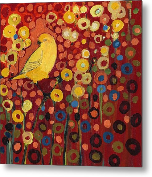 Canary Metal Print featuring the painting Canary in Red by Jennifer Lommers