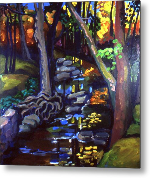 Landscape With Trees Metal Print featuring the painting Canterbury Road Runoff Stream by Doris Lane Grey