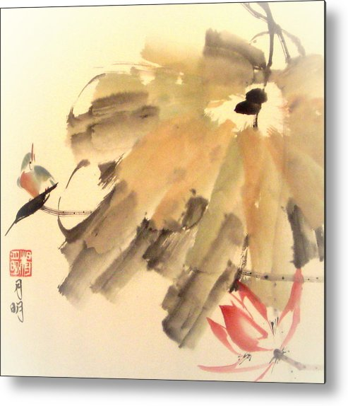 Nature Metal Print featuring the painting Charm of Lily Pond by Ming Yeung