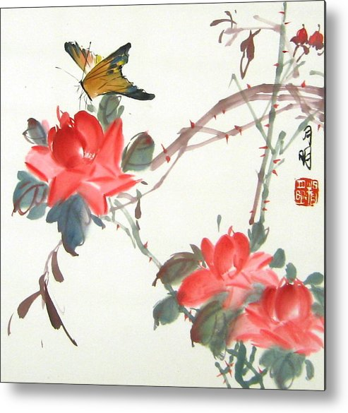 Chinese Painting Metal Print featuring the painting Charm Of Nature by Ming Yeung