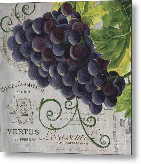 Grapes Metal Print featuring the painting Vins de Champagne 2 by Debbie DeWitt