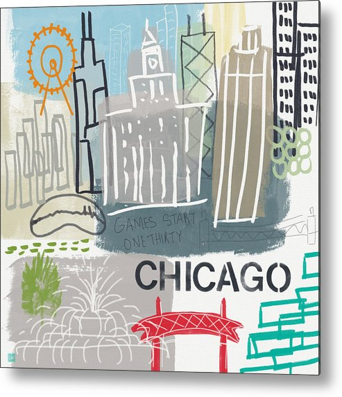 Chicago Metal Print featuring the painting Chicago Cityscape- Art by Linda Woods by Linda Woods
