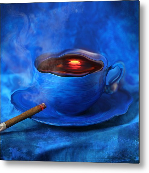 Coffee Metal Print featuring the digital art Coffee for Mister Klein by Floriana Barbu