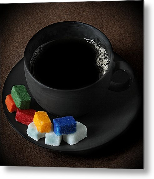 Coffee Metal Print featuring the photograph Coffee for Mister Mondrian by Floriana Barbu