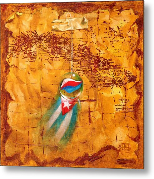 Marble Hanging By A String Metal Print featuring the painting Colgando En Un Hilito by Roger Calle