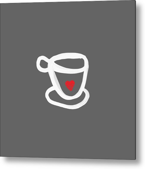 Coffee Metal Print featuring the painting Cup of Love- Shirt by Linda Woods