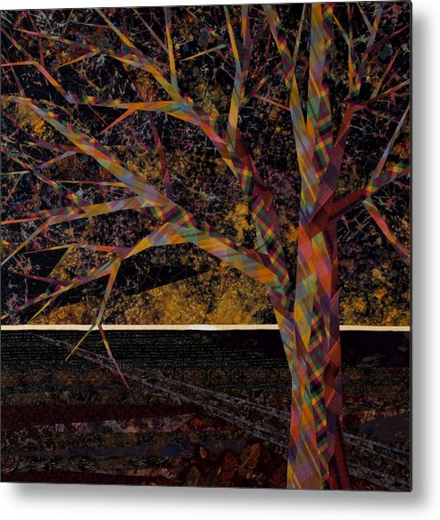 Landscape Metal Print featuring the tapestry - textile Dawn by Linda Beach