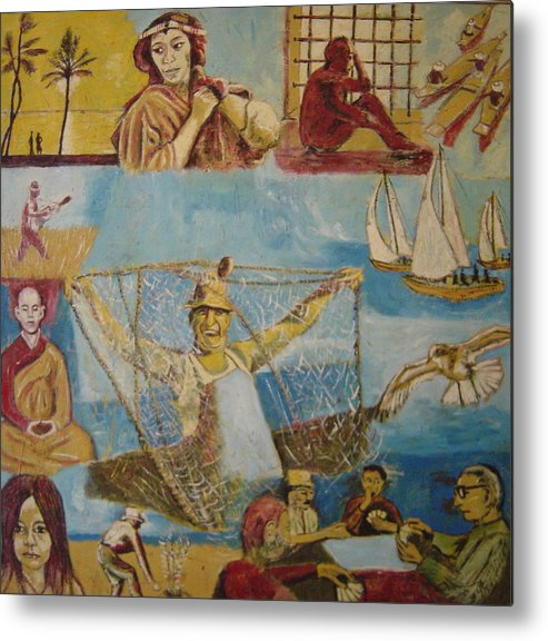 Metal Print featuring the painting Dream of the fisherman by Biagio Civale