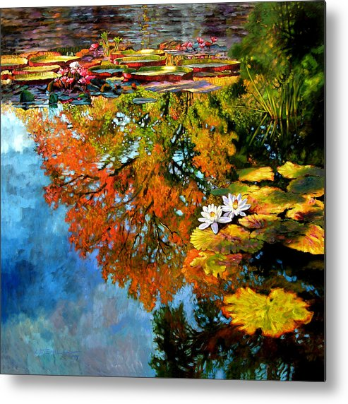 Landscape Metal Print featuring the painting Early Morning Fall Colors by John Lautermilch