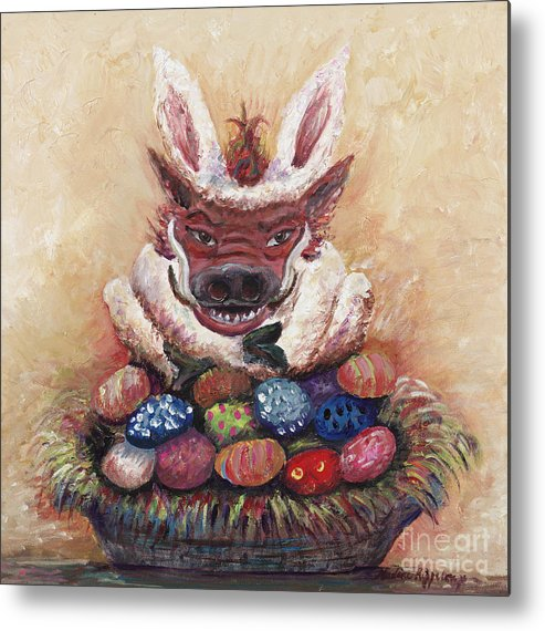 Easter Metal Print featuring the painting Easter Hog by Nadine Rippelmeyer