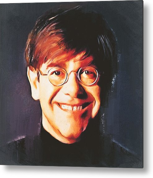 Elton Metal Print featuring the digital art Elton john young portrait by Yury Malkov
