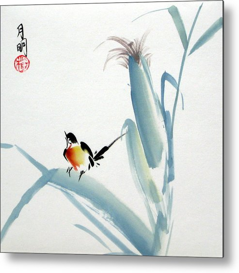 Chinese Painting Metal Print featuring the painting Envoy Of Harvest by Ming Yeung