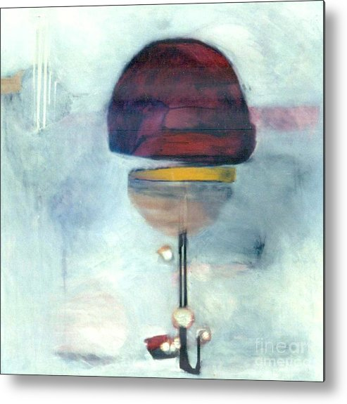 Abstract Metal Print featuring the painting Erev Tops Jump Shot by Marlene Burns